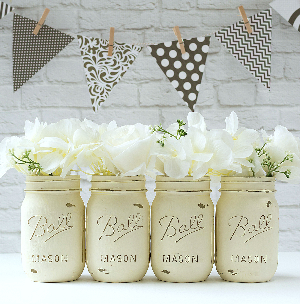 Painted-Mason-Jars-Annie-Sloan-Chalk-Paint-Old-White-1-of-1